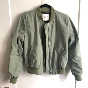 Madewell Side Zip Bomber Jacket in Green